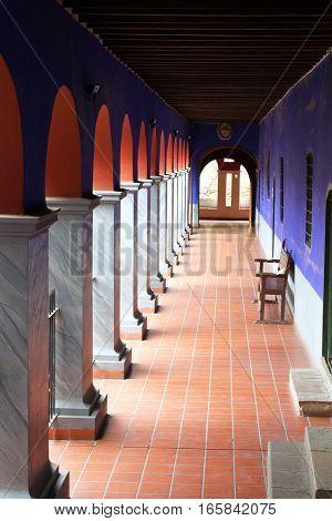 La Paz Bolivia - December 12 2016: Arched corridor of San Francisco Cloister in La Paz Bolivia on December 12 2016
