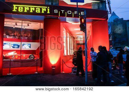 Bucharest Romania December 5 2009: The opening of the Ferrari showroom in Bucharest.