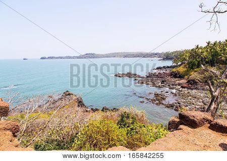 Portuguese conquest ruins on the ocean, Goa, India