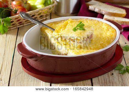 Baked Potatoes With Meat And Cheese On The Table In A Rustic Style. Space For Your Text.
