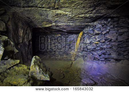 Old abandoned limestone mine Gurievsky in Byakovo, Tula Region