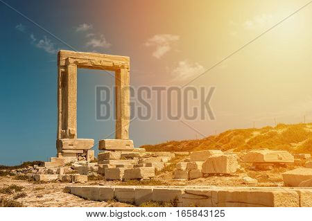 Portara of Naxos famous landmark of greece in the sunset