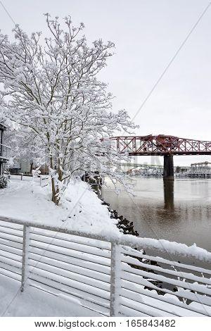 Broadway Bridge And Deep Snow
