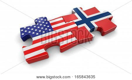 3D Illustration. USA and Norway puzzle from flags. Image with clipping path