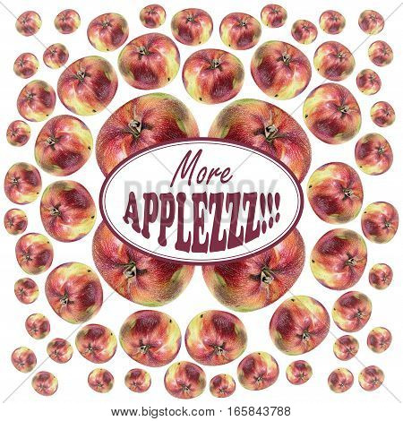 Illustration with red apples drawn by hand with colored pencil and with logotype in center. Drawing with crayons. Fresh tasty fruits painted from nature