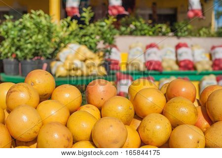 Roadside market stall with oranges in Florida
