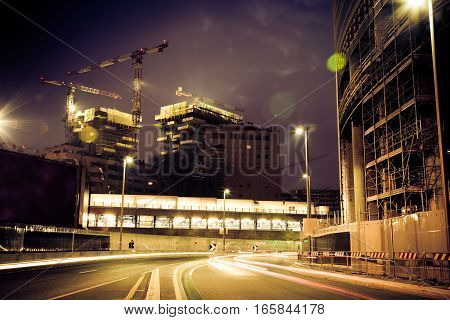 construction site near the garibaldi station in milan.