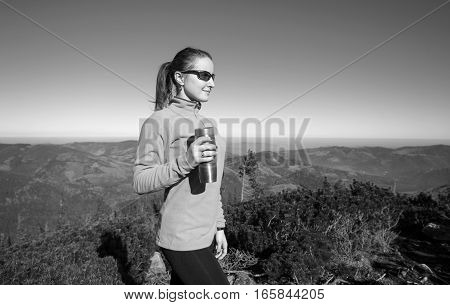 Young Athlete Woman Hiker Enjoying Her Rest