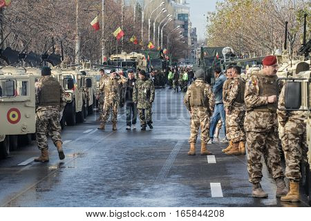 BUCHAREST ROMANIA DECEMBER 1 2015: Military are preparing for the military parade in Bucharest. More than 3000 soldiers and personnel from security agencies take part in the massive parades on National Day of Romania.