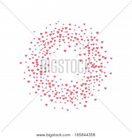 Heart Frame halftone effect. Red dots on white background. Red and white Sunburst background.