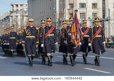 BUCHAREST ROMANIA DECEMBER 1 2015: Military are marching for the National Day of Romania military parade in Bucharest. More than 3000 soldiers and personnel from security agencies take part in the massive parades on National Day of Romania.
