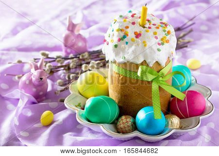 Easter Background. The Traditional Easter Treats: Cakes And Colorful Easter Eggs.