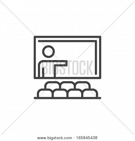 Training seminar line icon outline vector sign linear pictogram isolated on white. Classroom symbol logo illustration