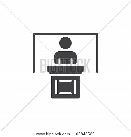 Person at podium icon vector filled flat sign solid pictogram isolated on white. Speaker conference symbol logo illustration