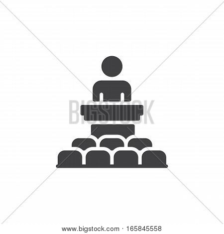 Speaker conference icon vector filled flat sign solid pictogram isolated on white. Podium symbol logo illustration