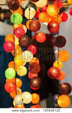 Line of asian paper lantern lamps for decoration