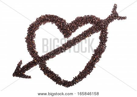 Heart With Cupid Arrow From Coffee Beans Isolated On A White Background