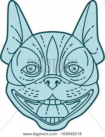 Mono line style illustration of boston terrier head laughing viewed from front set on isolated white background.