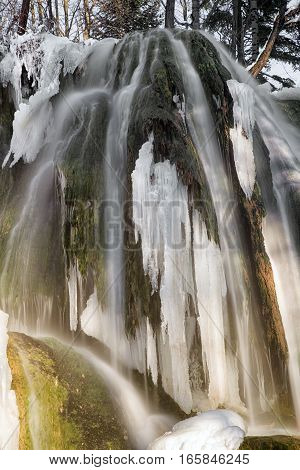 Frozen waterfall in village Lucky Slovakia. Icefall