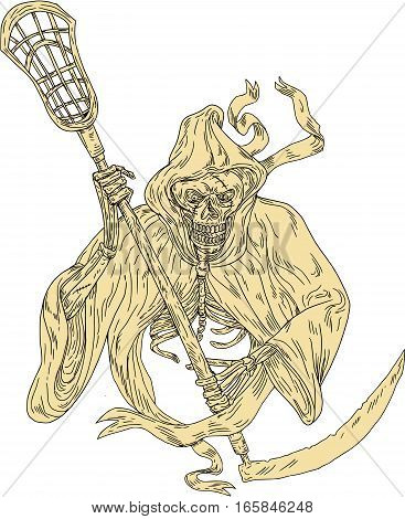 Drawing sketch style illustration of the grim reaper lacrosse player holding a crosse or lacrosse stick defense pole viewed from front on isolated white background.