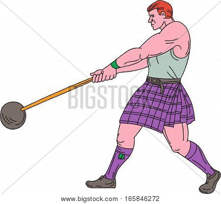 Drawing sketch style illustration of a Scottish heavy event highland games athlete engaged in weight throw viewed from the side set on isolated white background.