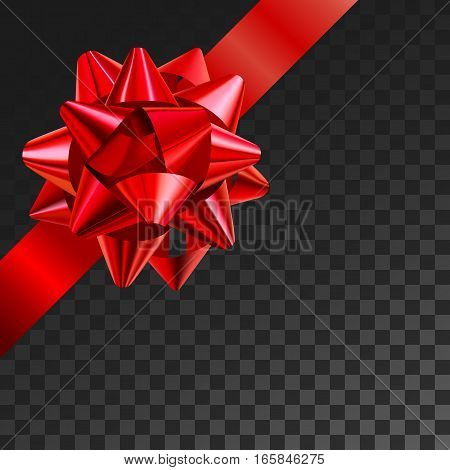 Gift bow realistic vector illustration on transparency grid. Red ribbon present box decoration. Superior for birthday, christmas celebration design