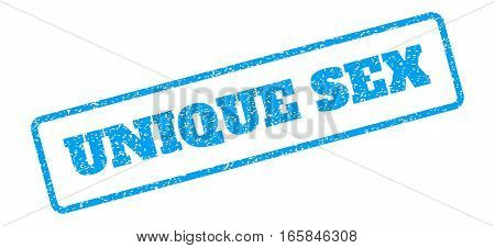 Blue rubber seal stamp with Unique Sex text. Vector message inside rounded rectangular frame. Grunge design and scratched texture for watermark labels. Inclined sign on a white background.