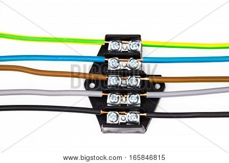 The electric connector on the white background