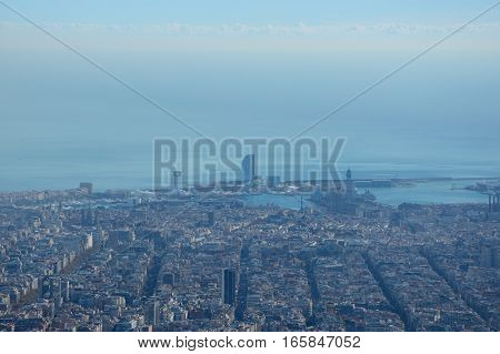 Aerial view of Barcelona city in Catalonia in Spain
