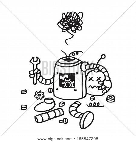 Page Not Found Error 404. Broken Robot Hand Drawn Vector Template