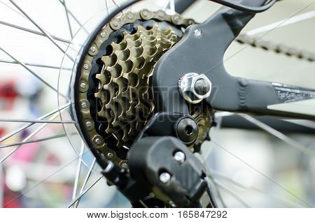 Bicycle rear cassette sprocket shifting system of gold color speeds. Cycling sport.