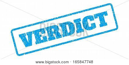 Blue rubber seal stamp with Verdict text. Vector caption inside rounded rectangular shape. Grunge design and dust texture for watermark labels. Inclined blue sticker on a white background.
