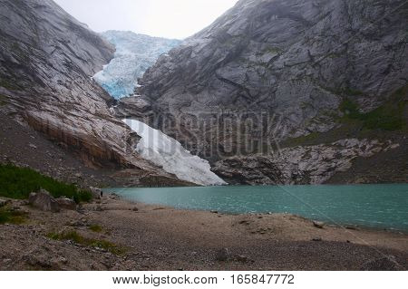 Lake and glacier in one of Norways fiords
