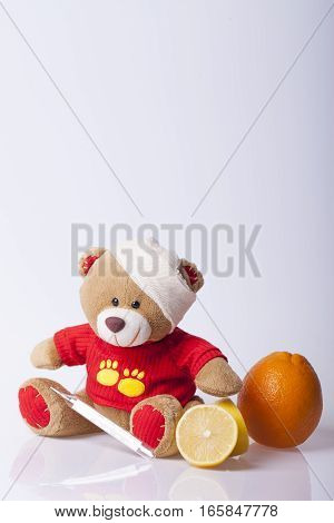 Bear Toy is ill Selective focus and small depth of field