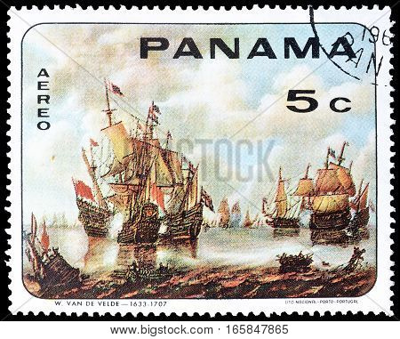 PANAMA - CIRCA 1968 : Cancelled postage stamp printed by Panama, that shows Old sailing ships.