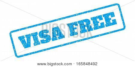 Blue rubber seal stamp with Visa Free text. Vector tag inside rounded rectangular shape. Grunge design and unclean texture for watermark labels. Inclined sign on a white background.