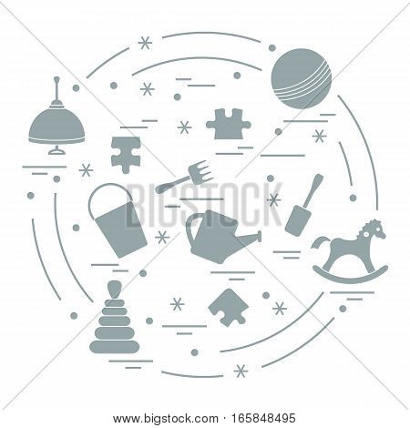 Vector Illustration Kids Elements Arranged In A Circle: Whirligig, Ball, Puzzle, Rocking Horse,  Buc