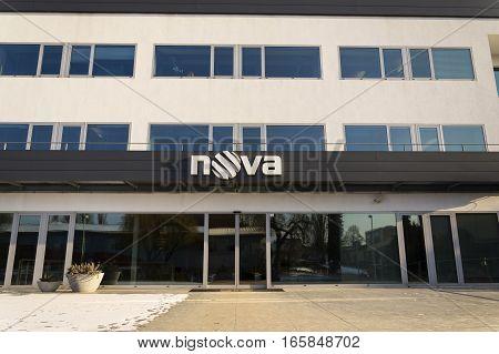 Prague, Czech Republic - January 18: Nova Television Cme Company Logo On The Headquarters Building O