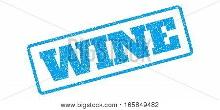 Blue rubber seal stamp with Wine text. Vector caption inside rounded rectangular shape. Grunge design and dirty texture for watermark labels. Inclined blue sticker on a white background.