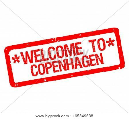 Rubber stamp with text welcome to Copenhagen