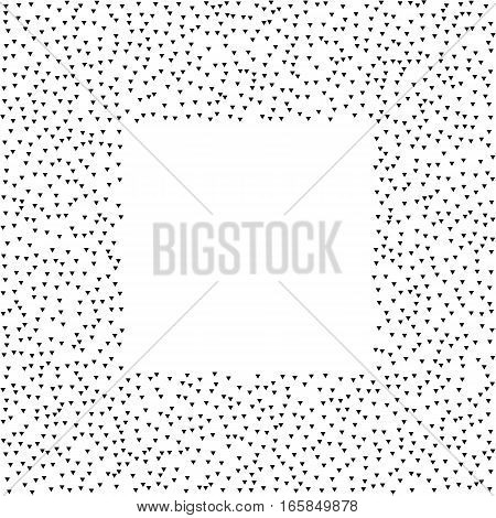 Abstract square frame. Design frame with halftone effect. Black triangles on white background