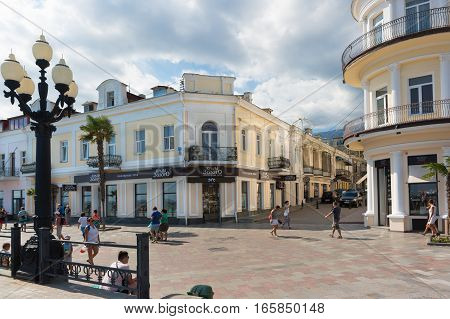 YALTA CRIMEA RUSSIA - SEPTEMBER 12.2016: The shops on the seafront of Yalta