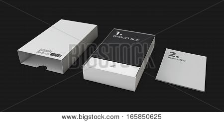 3D Illustration Of Opened Gray Software Package Box For Your Product On A Black Background