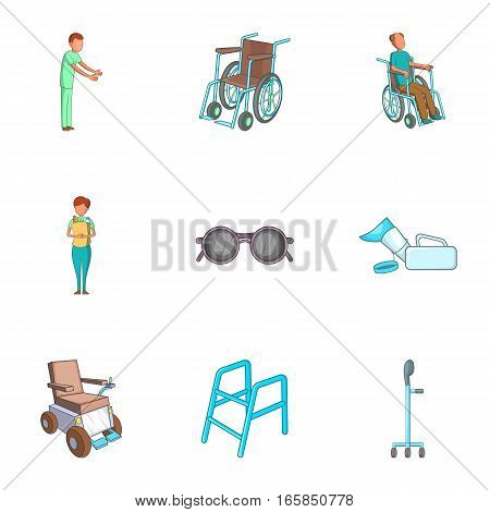 Care, help and accessibility icons set. Cartoon illustration of 9 care, help and accessibility vector icons for web