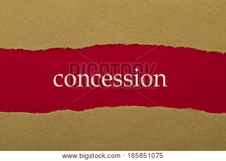 Concession word written under brown torn paper.