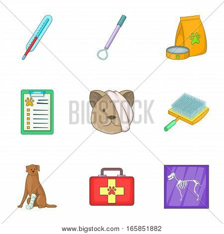 Pet health icons set. Cartoon illustration of 9 pet health vector icons for web