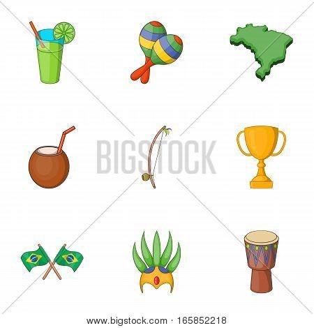 Symbols of Brazil icons set. Cartoon illustration of 9 symbols of Brazil vector icons for web