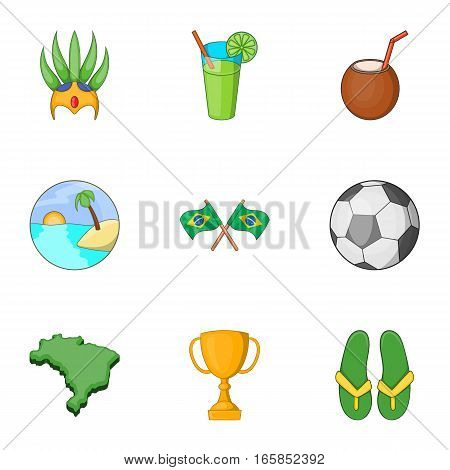 Brazilian traditional symbol icons set. Cartoon illustration of 9 Brazilian traditional symbol vector icons for web