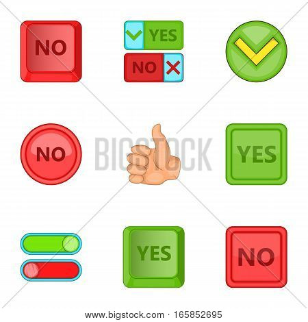 Yes and no sign icons set. Cartoon illustration of 9 yes and no sign vector icons for web