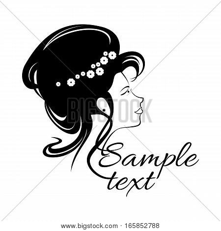 Beautiful girl Logo for beauty salon, spa salon, firm or company. Abstract young woman's face silhouette in profile. Wedding design. Vector illustration for beauty salon. Woman hair style silhouette